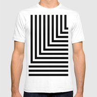 Black and White L Stripes // www.pencilmeinstationery.com Mens Fitted Tee White SMALL