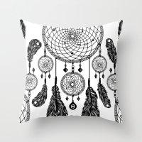 Dreamcatcher (Black & White) Throw Pillow