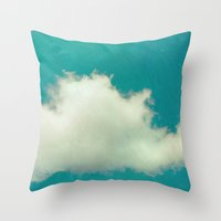 Genie in a Bottle.  Cloud Photography.  Turquoise Throw Pillow