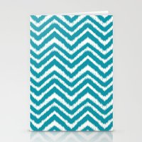 Ikat Chevron: Teal Stationery Cards