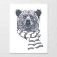 Winter Bear Drawing Canvas Print