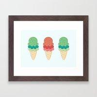 Ice Cream + Sprinkles Framed Art Print