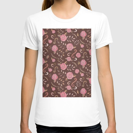 Coffee Roses - vintage rose pattern in pink and brown T-shirt