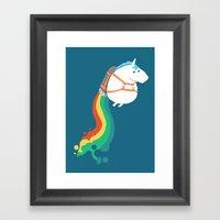 Fat Unicorn On Rainbow J… Framed Art Print
