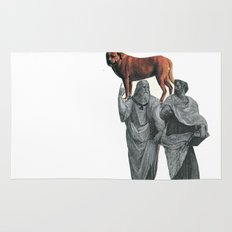 plato n aristotle walking their doge Rug