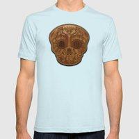 Wooden Sugar Skull Mens Fitted Tee Light Blue SMALL