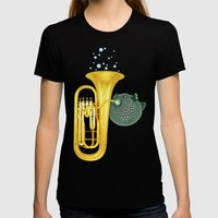 Puffer Fish Playing Tuba Womens Fitted Tee Black SMALL