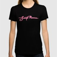 Santa Monica Glow Womens Fitted Tee Black SMALL
