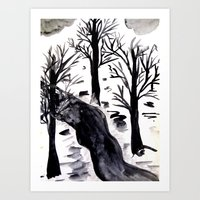 Black Crystall Frost Art Print