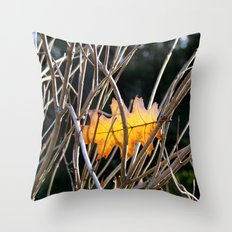 Golden Leaf Throw Pillow