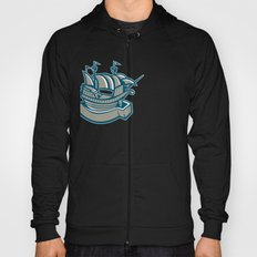 sailing ship galleon scroll Hoody
