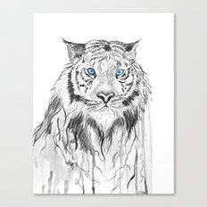 Tiger, black and white Canvas Print