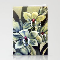 Green Orchids Stationery Cards