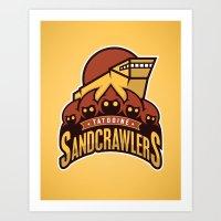 Tatooine SandCrawlers - Gold Art Print