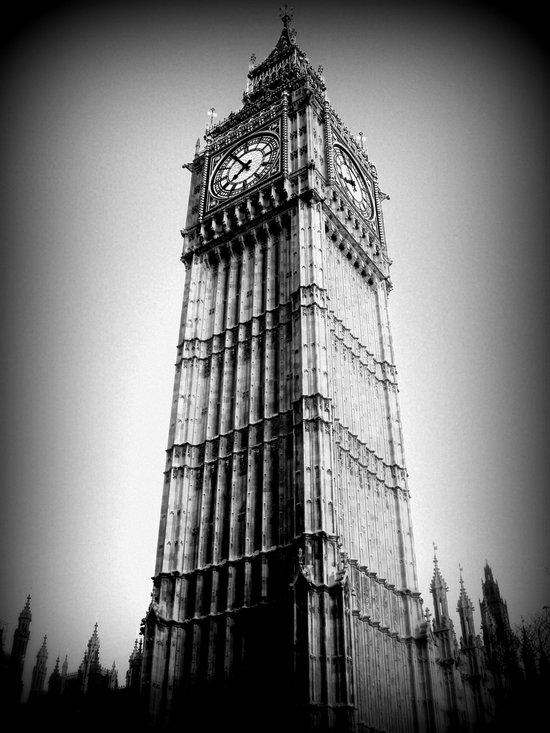 Ben looms in black and white, too. Canvas Print