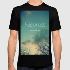 Happiness Surrounds Me Mens Fitted Tee Black SMALL
