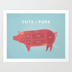 Pork Cuts Poster Art Print