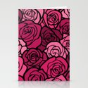 Romantic Pink roses with black outline Stationery Cards