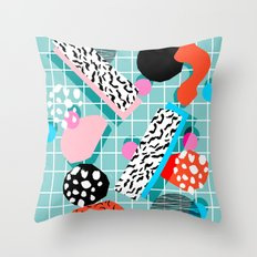 The 411 - wacka abstract memphis grid throwback retro cool neon 80s style minimal mixed media Throw Pillow