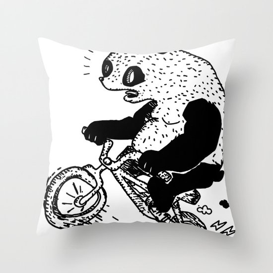 Dirt Jump Panda Throw Pillow