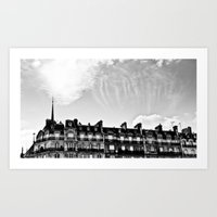 Cloudy in Paris. Art Print