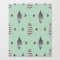 Feather Arrow Blue Canvas Print
