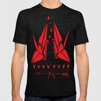 Origami Birds In Love Mens Fitted Tee Tri-Black SMALL