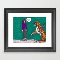 Fighting A Tiger Before … Framed Art Print