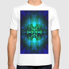 Blue columns in Abstract Mens Fitted Tee White SMALL