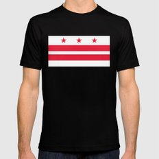 Flag of Washington D.C - Authentic High Quality image SMALL Black Mens Fitted Tee