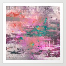 Mystical! - Abstract, pink, purple, red, blue, black and white painting Art Print