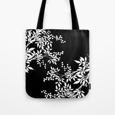 White and Black Toil Victorian Leaf Tote Bag