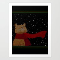Knitted Wintercat Art Print