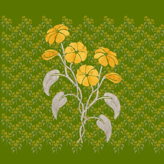 Flowers Green Pattern Art Print