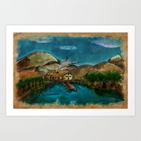 The House between Mountains and Lake Art Print