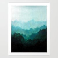mountains Art Prints featuring Mists No. 2 by Prelude Posters