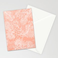 Chic hand drawn floral pattern on pink blush Stationery Cards