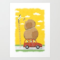Road trip with teddy, or else Art Print