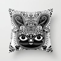 Day Of The Dead Bunny Celebration Throw Pillow