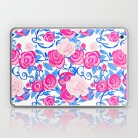 Pink Shabby Chic roses and royal blue vines on white Laptop & iPad Skin