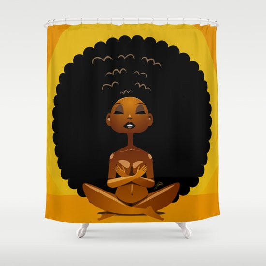 Spiritual afrogirl shower curtain by pweety sexxay society6 for Spiritual shower