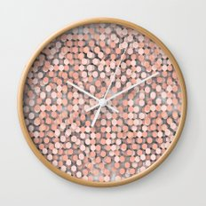 Hexagonal peach color background Wall Clock