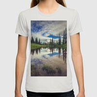 Mountain Reflections Mt Rainier Washington Womens Fitted Tee Silver SMALL