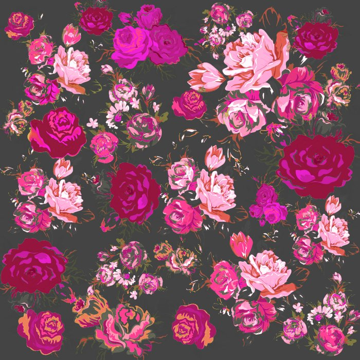Vintage Inspired Floral with Magenta and Hot Pink Roses on ...