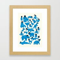 Blue Animals Black Hats Framed Art Print