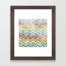 Chevron and Floral Pattern Framed Art Print