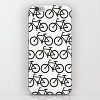 Bicycle Stamp Pattern - Black and White - Fixie Fixed Gear Bike iPhone & iPod Skin