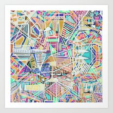 Geometric Abstract Lines Labirinth  Art Print