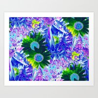Emerald Daisy with Amethyst  and Pink Sapphire Frosting Art Print