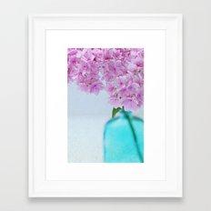 Pink Hydrangea Flowers in Blue Bottle Framed Art Print
